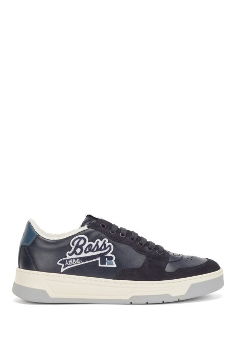 Italian-made leather-suede trainers with exclusive logo, Dark Blue