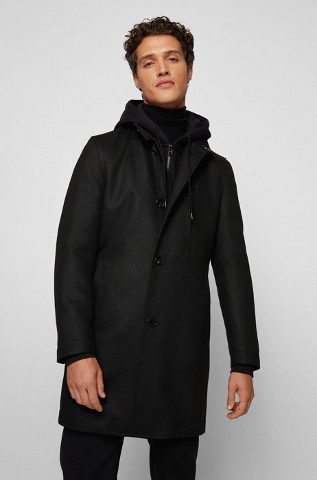 Slim-fit coat in micro-patterned jersey, Black