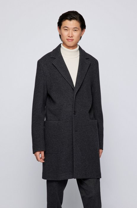 Relaxed-fit coat in a wool blend, Dark Grey