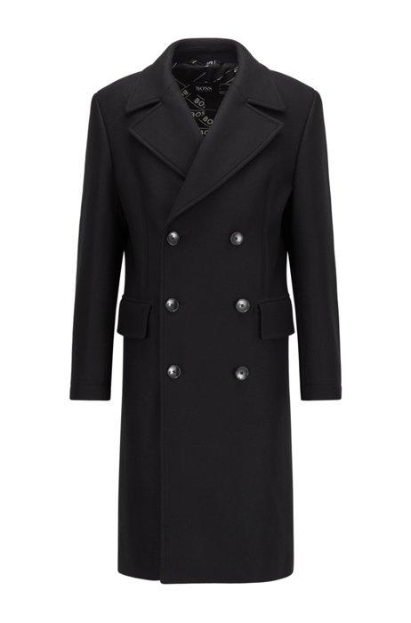 Manteau croisé Slim Fit en laine mélangée, Noir