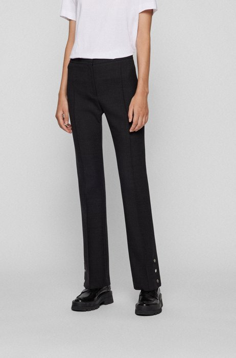 High-waisted slim-fit trousers in a wool blend, Dark Grey