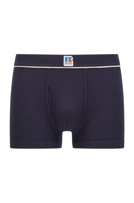 Stretch-cotton boxer briefs with exclusive logo, Dark Blue