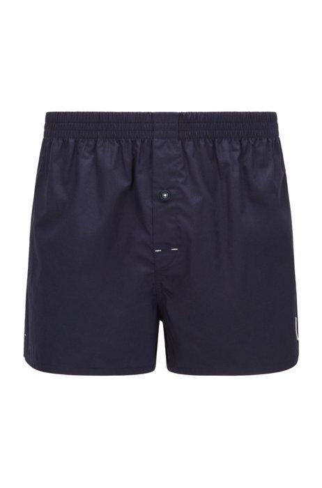 Boxer coupe Regular Rise en coton avec logo exclusif, Bleu foncé