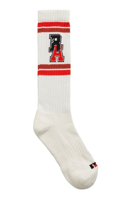 Unisex knee-high socks with varsity-style logo, White