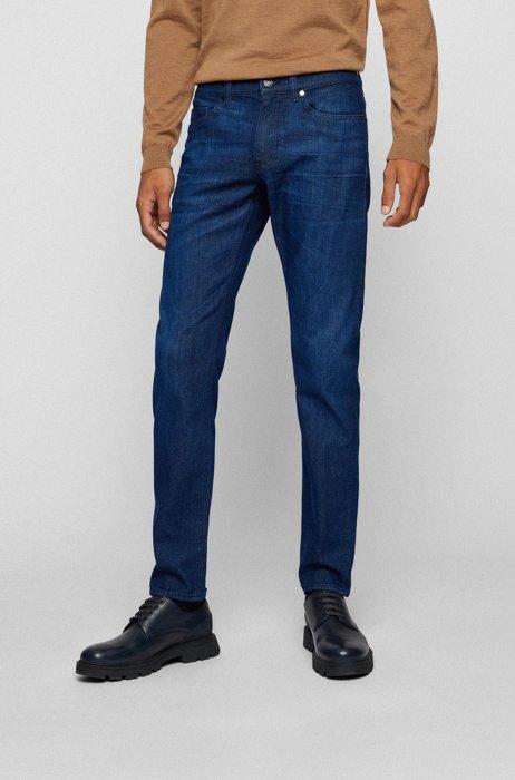 Dunkelblaue Slim-Fit Jeans aus besonders softem Denim, Dunkelblau