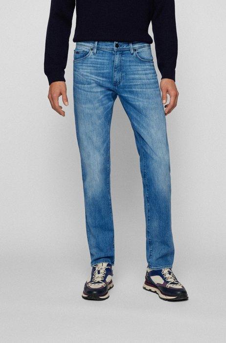 Regular-fit jeans in super-soft blue Italian denim, Blue