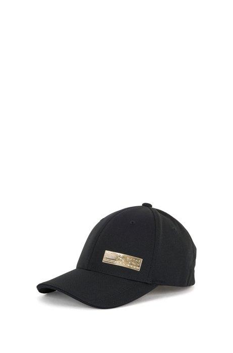 Pique-mesh cap with logo patch, Black
