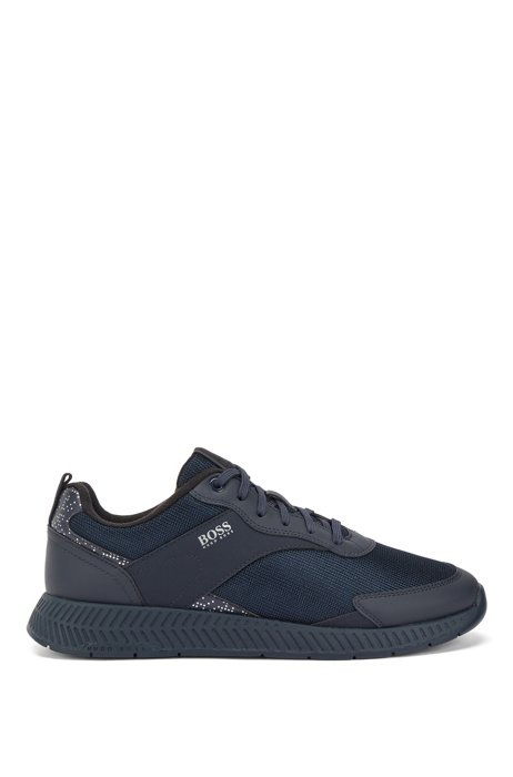 Pixel-print trainers with mesh and rubberised trims, Dark Blue