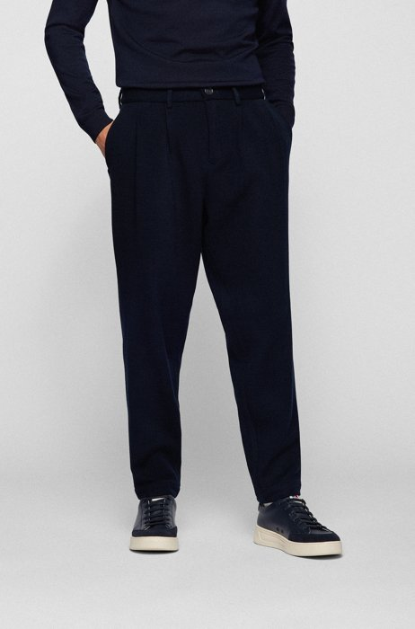 Relaxed-fit trousers in structured twill with exclusive logo, Dark Blue