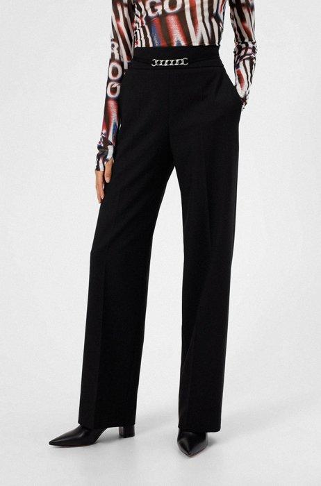 Hose mit hohem Bund, weitem Bein und Ketten-Detail, Schwarz