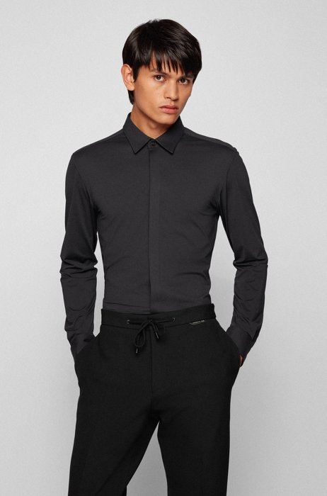 Slim-fit shirt in performance-stretch jersey, Black