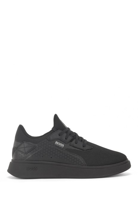 Sock trainers with thermo-bonded details, Black