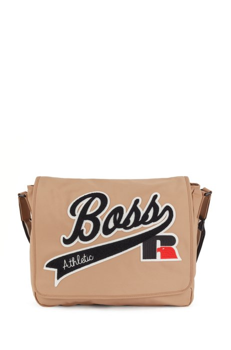 Messenger bag in recycled nylon with exclusive logo, Beige