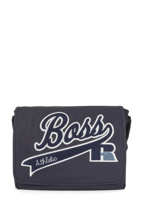 Messenger bag in recycled nylon with exclusive logo, Dark Blue