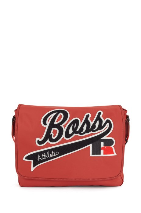 Messenger bag in recycled nylon with exclusive logo, Red