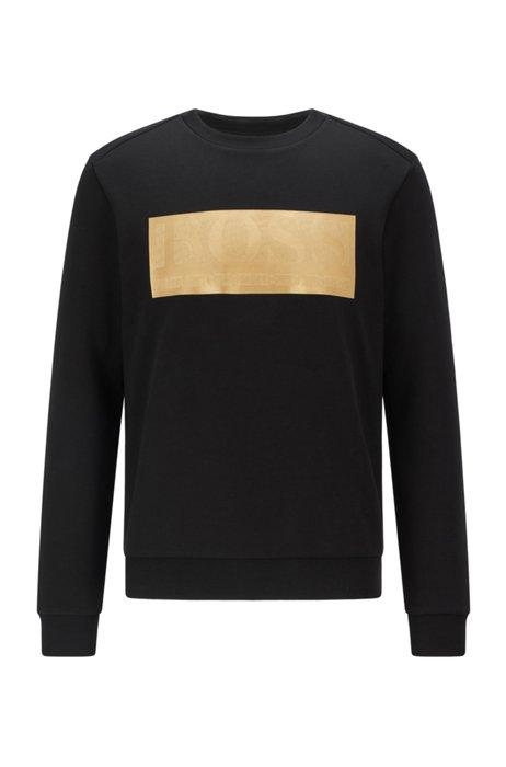 Cotton-blend sweatshirt with contrast logo band, Black