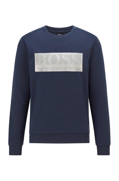 Cotton-blend sweatshirt with contrast logo band, Dark Blue