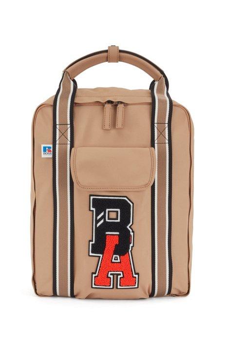 Rucksack aus recyceltem Nylon mit exklusivem Logo, Beige