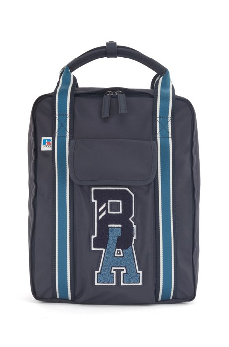 Backpack in recycled nylon with exclusive logo, Dark Blue