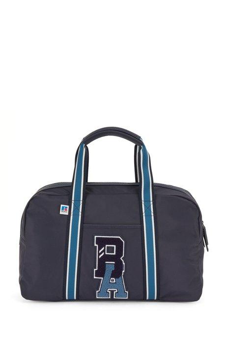 Weekender aus recyceltem Nylon mit exklusivem Logo, Dunkelblau