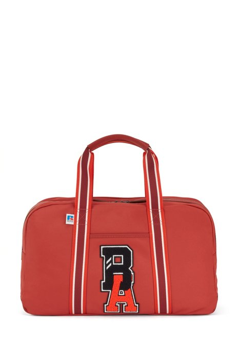 Holdall in recycled nylon with exclusive logo, Red