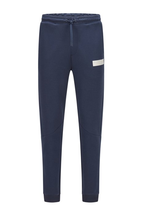 Cotton-blend tracksuit bottoms with contrast logo, Dark Blue