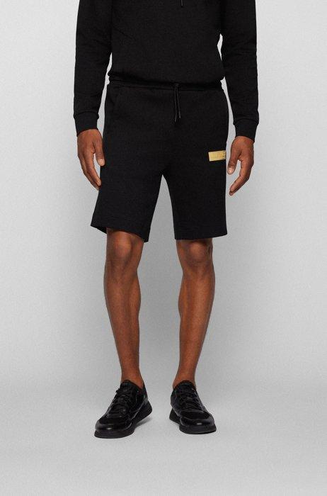 Cotton-blend drawstring shorts with contrast logo, Black