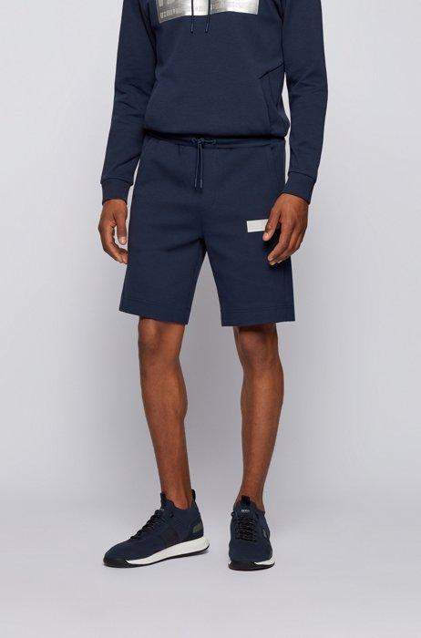 Cotton-blend drawstring shorts with contrast logo, Dark Blue