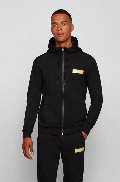 Zip-up hooded sweatshirt with contrast logo, Black