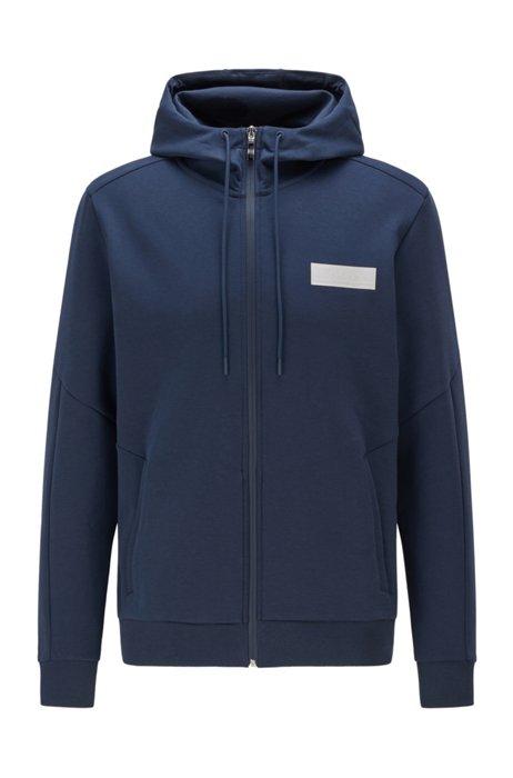 Zip-up hooded sweatshirt with contrast logo, Dark Blue