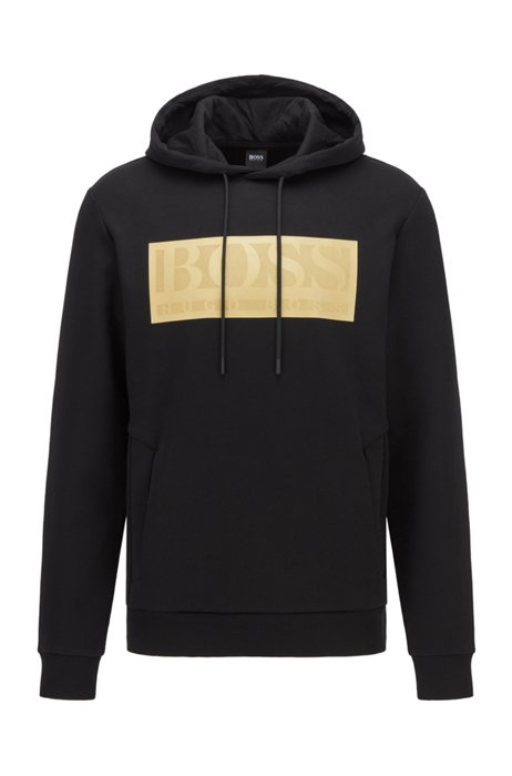 Cotton-blend hooded sweatshirt with contrast logo, Black