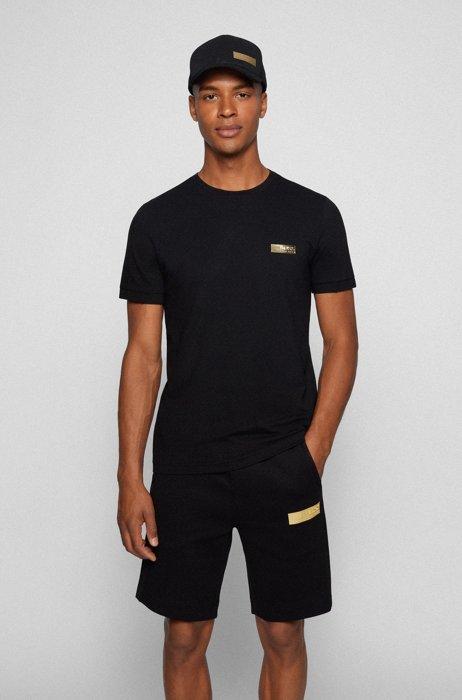 Contrast-logo T-shirt in a slim fit, Black