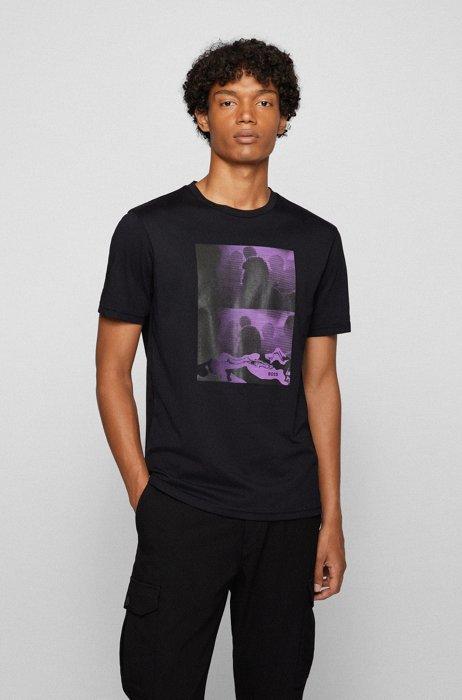 T-Shirt aus reiner Baumwolle mit Artwork und Logo-Details, Schwarz