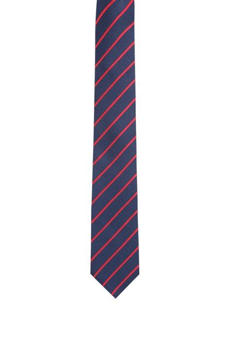 Krawatte aus Seiden-Jacquard mit diagonalen Streifen, Blau gemustert
