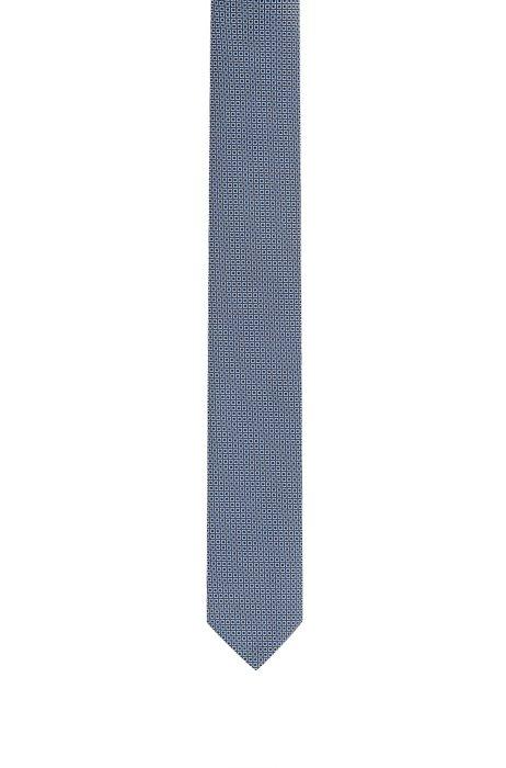Fein gemusterte Krawatte aus reiner Seide, Dunkelblau