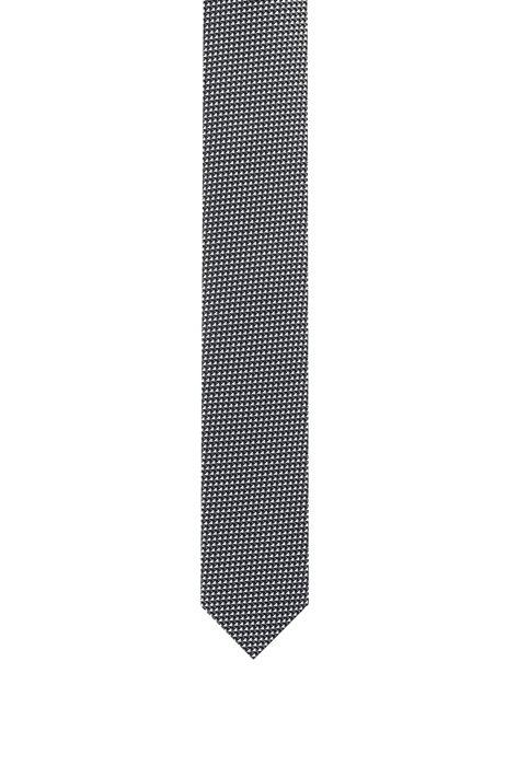 Pure-silk tie with jacquard-woven micro pattern, Black