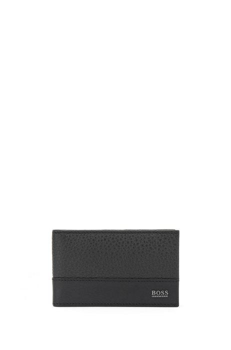 Geldbörse aus italienischem Leder mit Geldscheinklammer, Schwarz