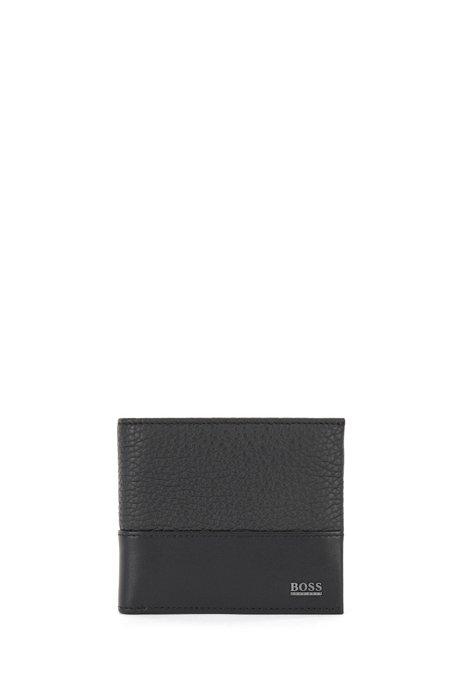 Portafoglio bi-fold in pelle italiana con scritta del logo in metallo, Nero