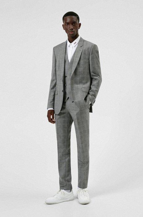 Costume Extra Slim Fit à carreaux en laine, soie et cachemire, Gris chiné