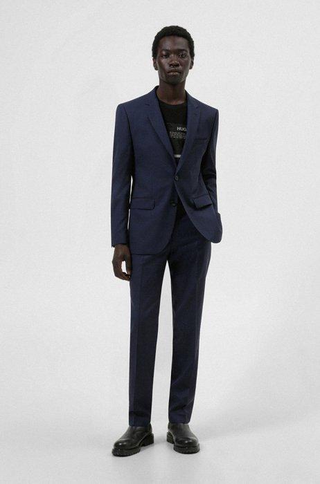 Costume Regular Fit en laine mérinos à micro carreaux, Bleu foncé