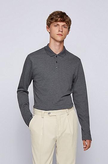 棉质羊绒长袖 Polo 衫,  030_Medium Grey