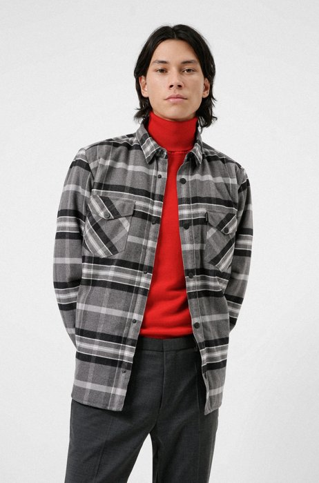 Oversized-fit padded overshirt in checked cotton flannel, Grey