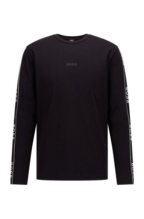 Camiseta de manga larga en algodón elástico con ilustración de logo, Negro