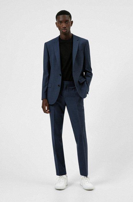 Costume Slim Fit en tissu de laine mélangée stretch à motif aux propriétés extensibles performantes, Bleu foncé