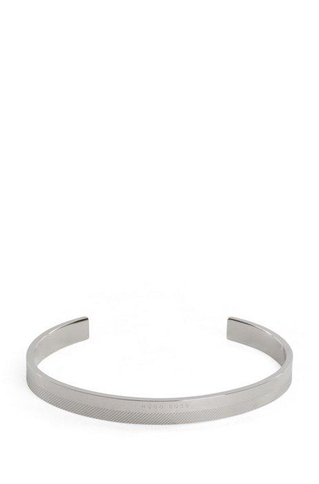 Armband van roestvrij staal met geëtste lijnen en logo, Zilver