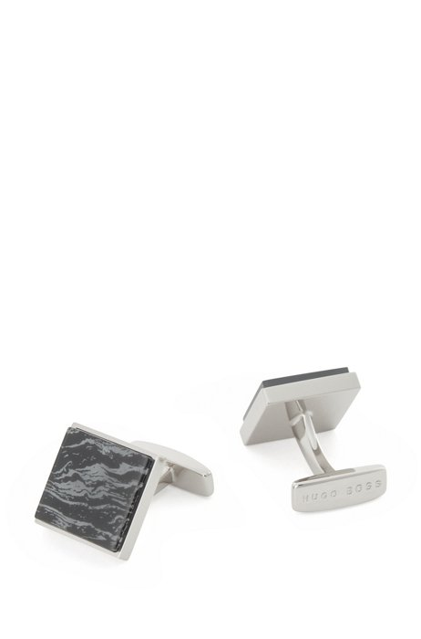 Square cufflinks with marble-effect enamel, Black