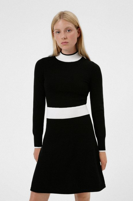 Long-sleeved knitted dress with contrast trims, Black