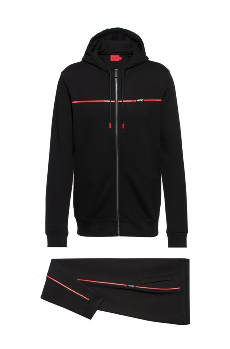 Regular-fit tracksuit in French terry with red piping, Black