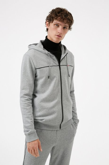 Regular-fit tracksuit in French terry with red piping, Light Grey