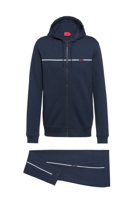 Regular-fit tracksuit in French terry with red piping, Dark Blue